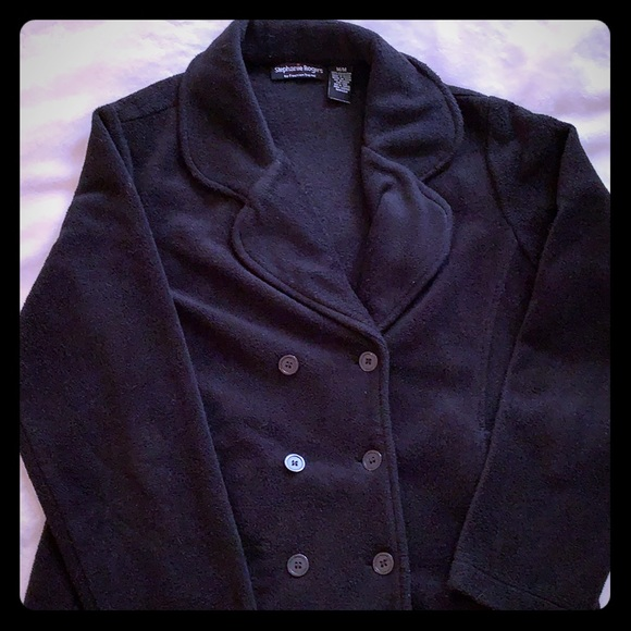 Stephanie Rogers Jackets & Blazers - Black fleece double breasted jacket. Size M.